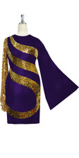Short patterned dress in metallic gold sequin spangles fabric and stretch purple fabric with oversized sleeves