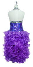 Short Handmade 10mm Flat Sequin Dress in Purple with Silver Trim and an Organza Ruffled Skirt back view