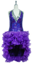 Short Handmade 10mm Flat Sequin Dress in Purple with Silver Trim and an Organza Ruffled Skirt front view