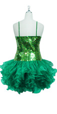 Short Swirl Patterned Handmade 10mm Flat Sequin Dress in Green and Gold with Ruffled Organza Skirt back view