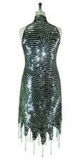 Short Swirl Patterned Handmade 10mm Flat Sequin Chinese Collar Dress in Metallic Silver and Black with Jagged and Beaded Hemline Back View