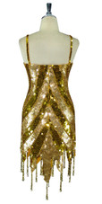 Short Patterned Handmade 10mm Flat Sequin Dress in Gold with Jagged and Beaded Hemline back view