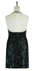 Short Handmade Patterned 8mm cupped Sequin Halter Neck Dress in Silver and Black Back View