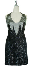 Short Handmade Patterned 8mm cupped Sequin Halter Neck Dress in Silver and Black Front View
