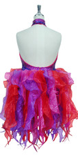 Short Handmade Patterned 8mm cupped Sequin Organza Ruffle Dress in Fuchsia and Purple Back View