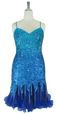 Short Handmade 8mm cupped Blue Sequin Dress with Pleated Chiffon Hemline Front view