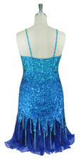 Short Handmade 8mm cupped Blue Sequin Dress with Pleated Chiffon Hemline back view