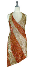Short Patterned Handmade 8mm cupped Sequin Dress in Metallic Hologram Gold and Copper Front View
