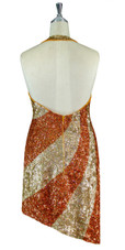 Short Patterned Handmade 8mm cupped Sequin Dress in Metallic Hologram Gold and Copper Back view