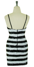 Short Handmade 8mm Cupped Sequin Dress in White and Black Back view
