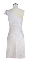 Short Patterned Handmade 8mm Flat Sequin Dress in White and Red back view