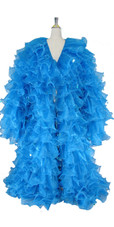 Long Organza Ruffle Coat with Long Sleeves and Highlight Sequins in Turquoise from SequinQueen.