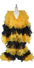 Long Organza Ruffle Coat with Long Sleeves and Highlight Sequins in Yellow and Black from SequinQueen