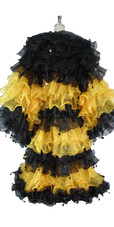 Long Organza Ruffle Coat with Long Sleeves and Highlight Sequins in Black and Yellow from SequinQueen
