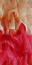 Long Organza Ruffle Coat with Long Sleeves and Highlight Sequins in Orange, Red and Yellow from SequinQueen.