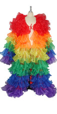 Long Organza Ruffle Coat with Long Sleeves and Highlight Sequins in Rainbow colors from SequinQueen.