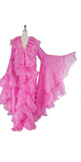 Long Organza Ruffle Coat with Oversized Sleeves and Highlight Sequins in Pink from SequinQueen