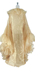 Long Organza Ruffle Coat with Oversized Sleeves and Highlight Sequins in Champagne from SequinQueen