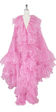 Long Organza Ruffle Coat with Oversized Sleeves and Highlight Sequins in  Pink