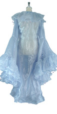 Long Organza Ruffle Coat with Oversized Sleeves and Highlight Sequins in Blue from SequinQueen