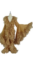 Long Organza Ruffle Coat with Oversized Sleeves and Highlight Sequins in Gold from SequinQueen