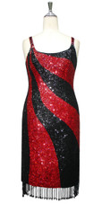 Short Handmade Patterned 8mm cupped Sequin Dress in Red and Black with Beaded Hemline front view