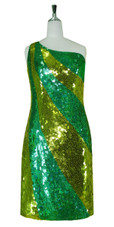 Short Patterned Handmade 10mm Flat Sequin Dress in Hologram Green and Gold with One-shoulder Cut front view