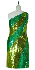 Short Patterned Handmade 10mm Flat Sequin Dress in Hologram Green and Gold with One-shoulder Cut back view