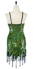 Short Handmade Swirl Patterned Green and Black In 10mm Flat Sequin Dress In Metallic & Hologram Sequins with Jagged, Beaded Hemline back view