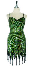 Short Handmade Swirl Patterned Green and Black In 10mm Flat Sequin Dress In Metallic & Hologram Sequins with Jagged, Beaded Hemline Front View