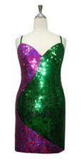 Short Handmade Patterned Green And Fuchsia Sequin Dress In Metallic & Hologram Sequins Front View