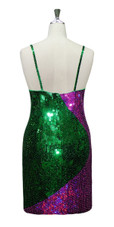 Short Handmade Patterned Green And Fuchsia Sequin Dress In Metallic & Hologram Sequins Back View