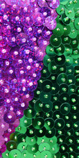 Short Handmade Patterned Green And Fuchsia Sequin Dress In Metallic & Hologram Sequins Close View
