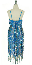 Short Patterned Handmade Paillette Sequin Dress in Blue and silver with Jagged and Beaded Hemline Back View