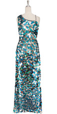 A Long Handmade Sequin Dress In Metallic Silver & Turquoise Paillette Sequins In Metallic & Hologram Sequins Front View