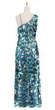 A Long Handmade Sequin Dress In Metallic Silver & Turquoise Paillette Sequins In Metallic & Hologram Sequins Back View