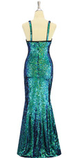 A long handmade sequin dress, in iridescent 8mm cupped sequins with beads back view