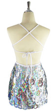 A short handmade sequin dress, with 10mm hologram silver fishscale sequins back view