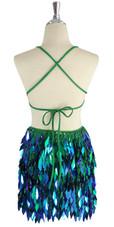 A short handmade sequin dress, in diamond-shaped iridescent green paillette sequins back view