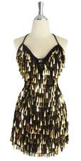 A short handmade sequin dress, with tear-drop shaped metallic gold paillette sequins front view