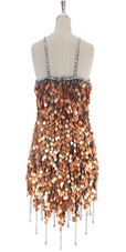 A short handmade sequin dress, in 20mm copper paillette sequins with silver faceted beads back view