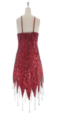 A short handmade sequin dress, in 8mm cupped red metallic red sequins with silver faceted beads back view