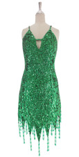 A short handmade sequin dress, in 8mm cupped emerald green sequins with silver faceted beads front view