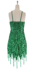 A short handmade sequin dress, in 8mm cupped emerald green sequins with silver faceted beads back view
