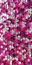 A short sequin fabric dress, in Duality fuchsia and silver sequins close up view