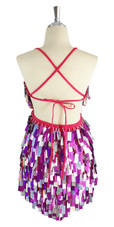 A short handmade sequin dress, with rectangular hologram silver and fuchsia mixed paillette sequins back view
