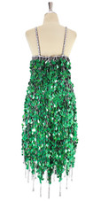 A short handmade sequin dress, in metallic hologram emerald green paillette sequins with silver beads back view