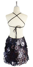 A short handmade sequin dress, with 10mm black fishscale sequins back view