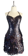 A short handmade sequin dress, with 10mm black fishscale sequins front view