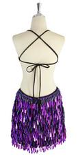 A short handmade sequin dress, with tear-drop shaped hologram purple paillette sequins back view